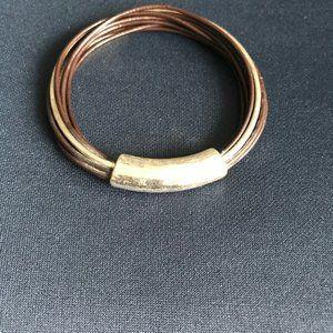 Robert Lee Morris Soho Leather & Silver Bangle